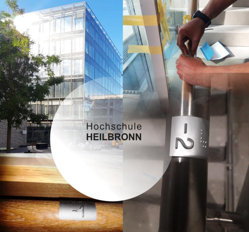 HS Heilbronn Handlaufschilder für blinde Menschen